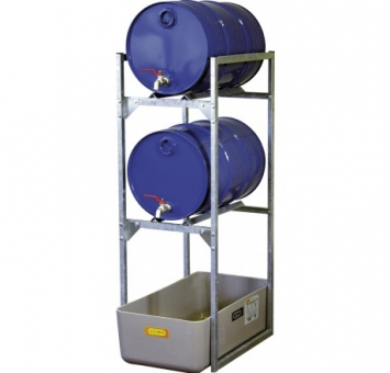 CEMO Fassregal 120 mit GFK-Auffangwanne 65 mit Fassauflagen für 2 x 60 l Fässer